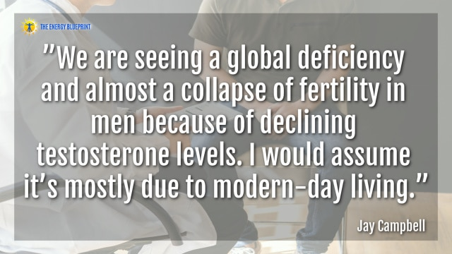 """We are seeing a global deficiency and almost a collapse of fertility in men because of declining testosterone levels. I would assume it's mostly due to modern-day living.""- Jay Campbell"